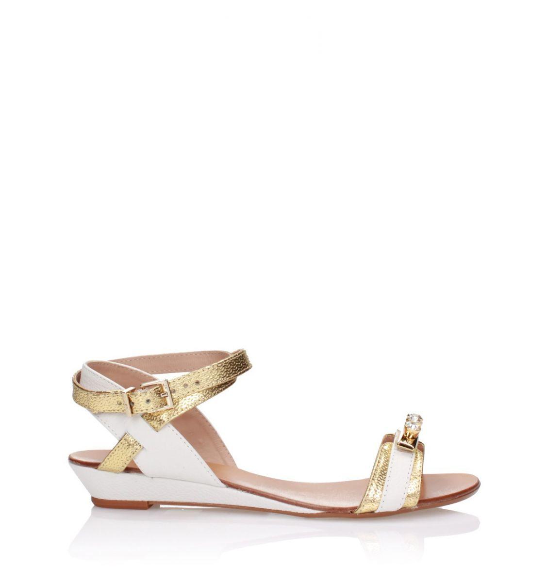 Biało-złote sandały