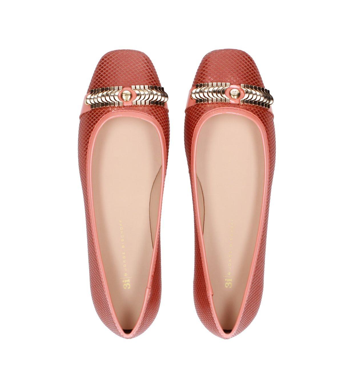 Skórzane baleriny 3i ze złotym zdobieniem - S327V65536