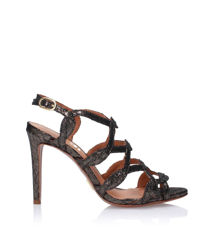 Czarno-srebrne sandały