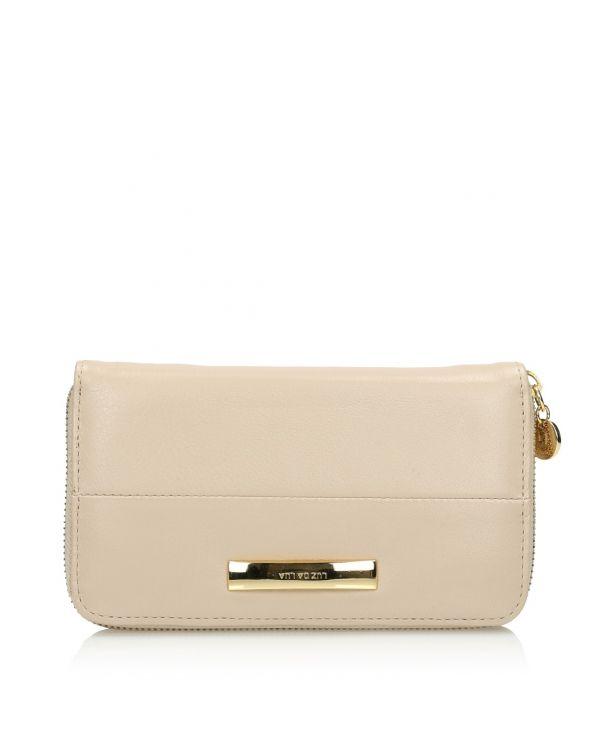 Beżowy skórzany portfel damski 3i - 09496 - 1