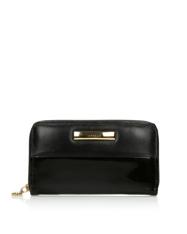 Czarny skórzany portfel damski 3i - 09467 - 1