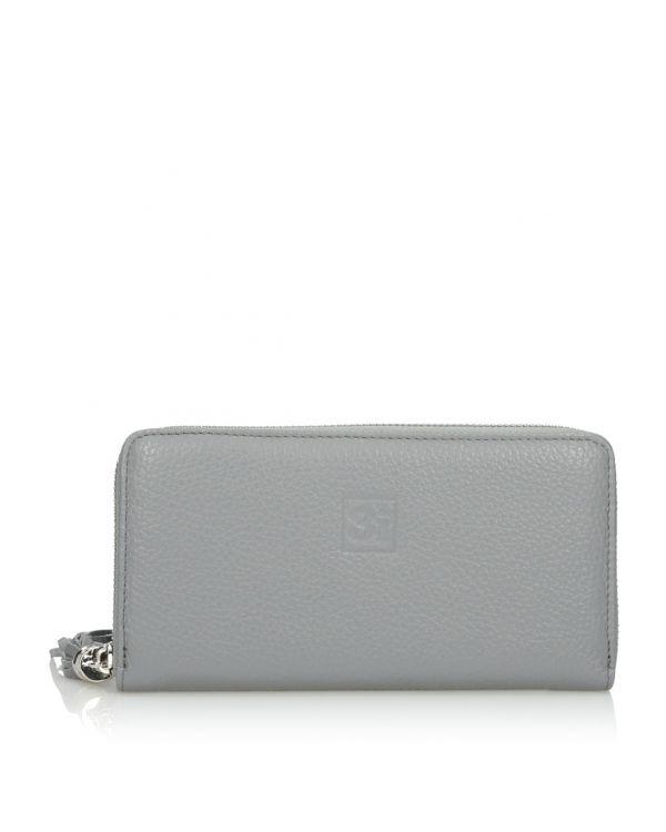 Szary skórzany portfel damski 3i - 11261 - 1