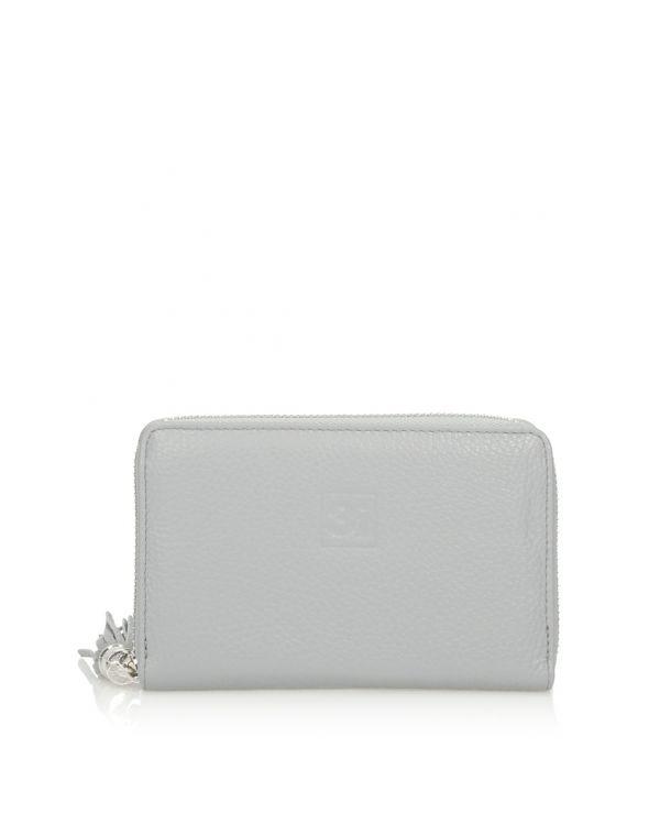 Szary skórzany portfel damski 3i - 11262 - 1