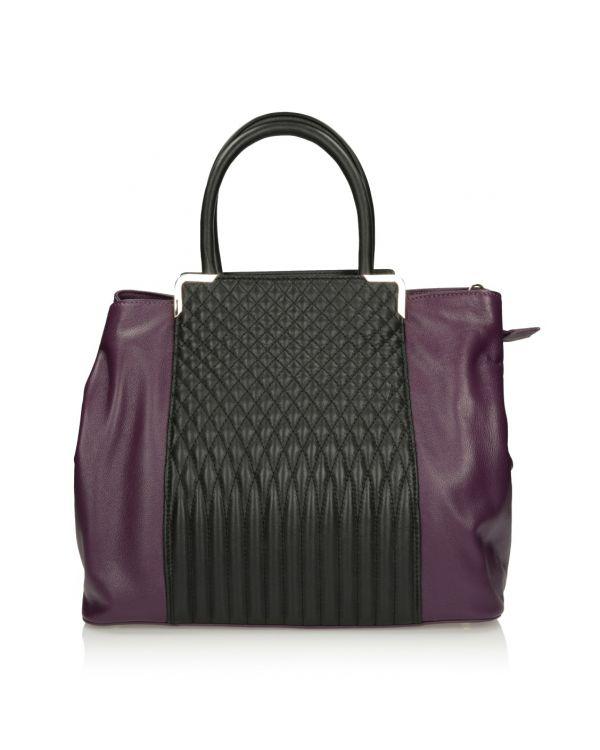 Czarno-purpurowa skórzana torebka damska 3i - 11492 - 1
