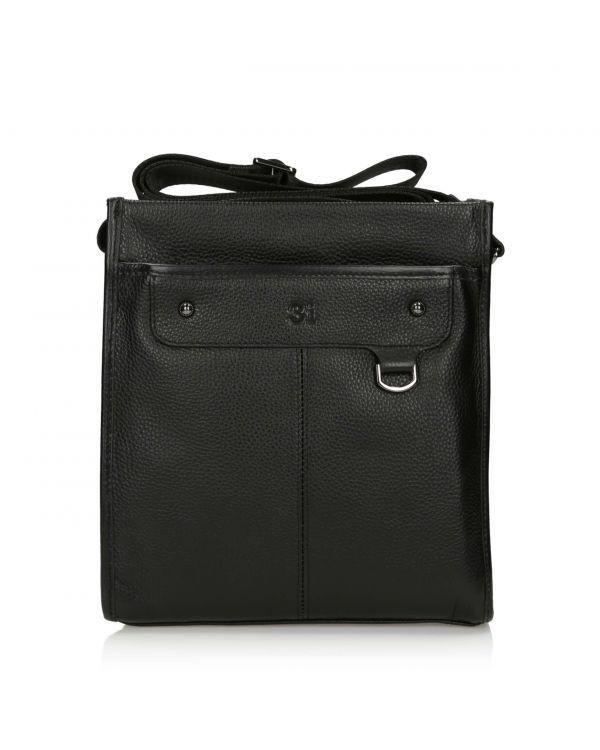 Skórzana torba męska 3i na ramię - 11129 Black - q