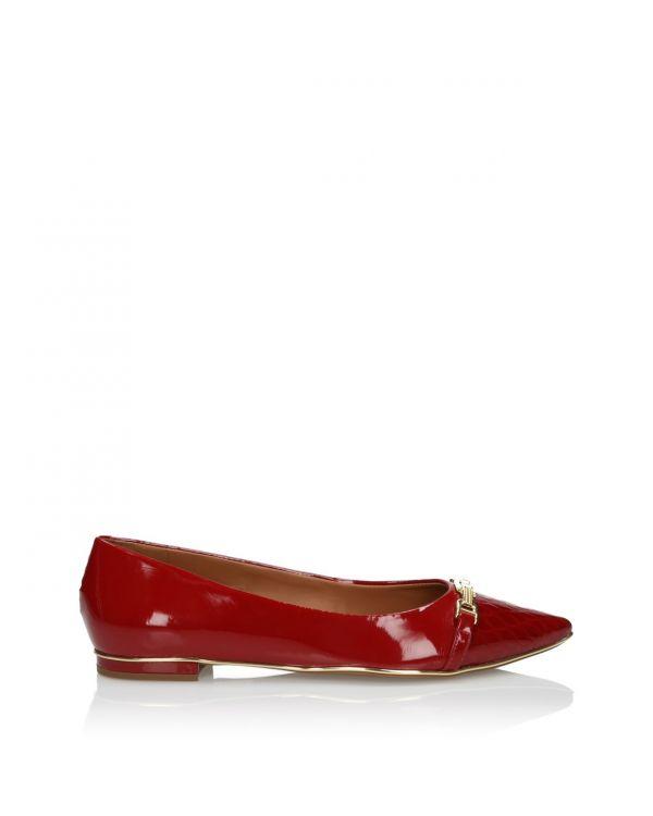 Czerwone baleriny ze skóry lakierowanej - S43306 Pimenta - 1