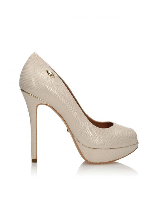 3i Beige and gold peep toe high heels - 63301 Iguana Nude - 1