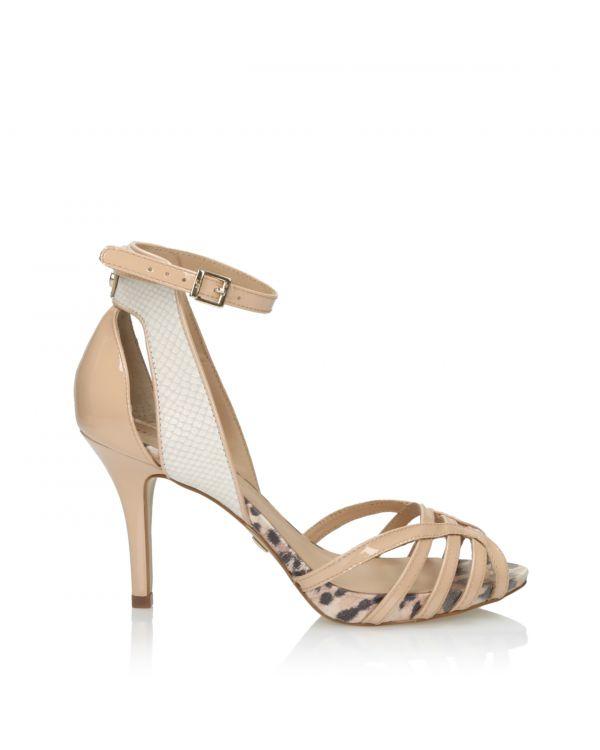 Beżowe sandały damskie 3i na szpilce - J30090043X05 Beige - 1