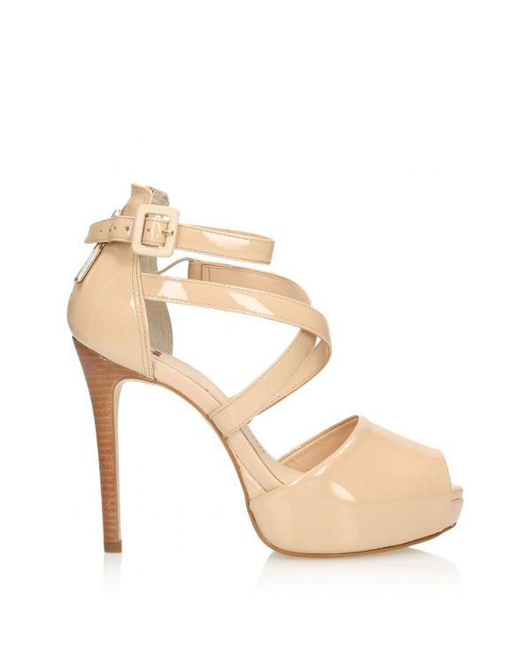Beżowe skórzane sandały damskie 3i - 08912 - 1