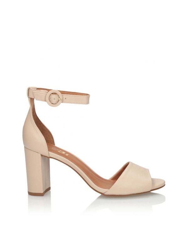 Beżowe skórzane sandały damskie 3i - 11616 - 1