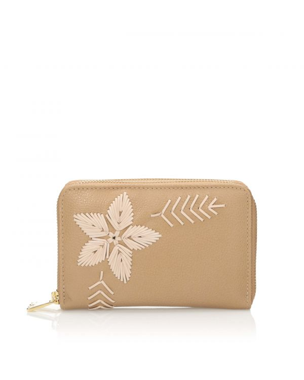 Beżowy skórzany portfel damski 3i - 10792 - 1