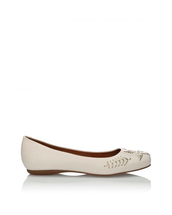 Białe baleriny damskie 3i ze skóry licowej - 10675 - 1