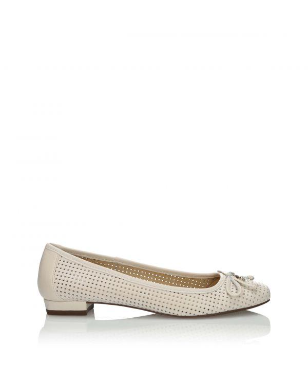 Białe ażurowe baleriny damskie skórzane 3i - 10730 - 1