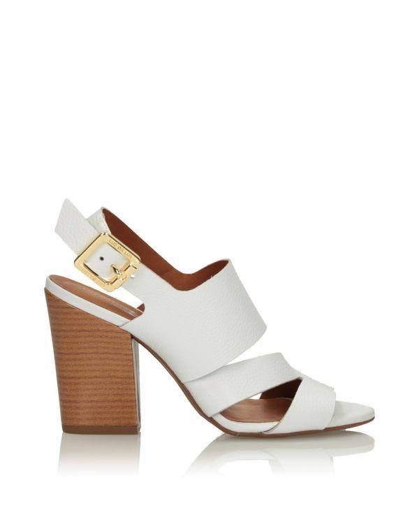 Białe skórzane sandały damskie 3i - 11632 - 1