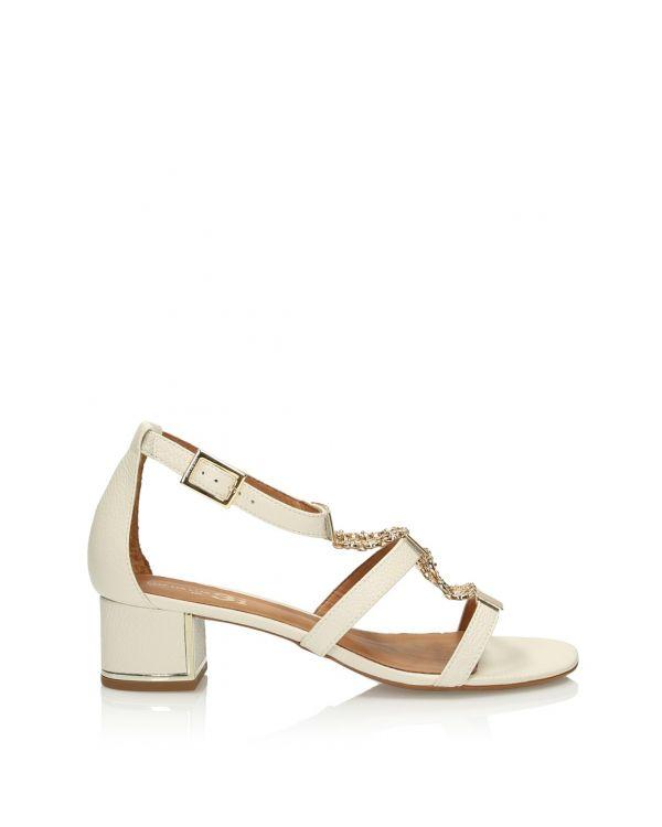 Białe skórzane sandały damskie 3i - 11395 - 1
