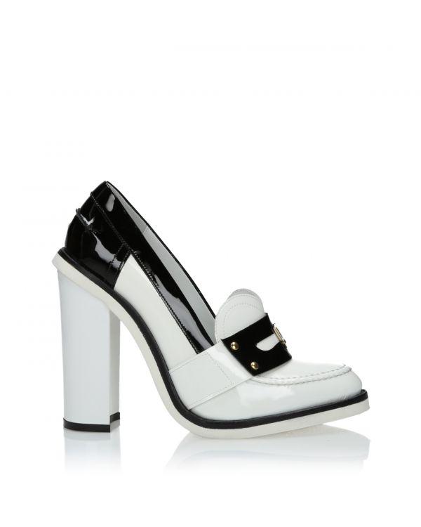 Biało-czarne czółenka damskie - John Galliano 2929 Vernice Bianco - 1