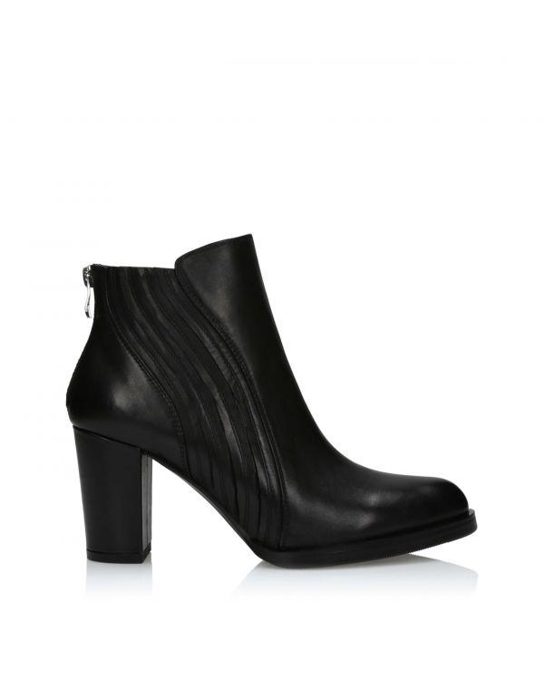 Czarne botki damskie skórzane 3i - 1680-7 Black - 1
