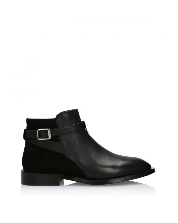 Czarne botki damskie skórzane 3i - 2812-8 Black - 1