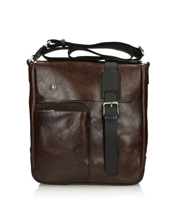 Brązowa skórzana torba męska 3i - 11515 - 1