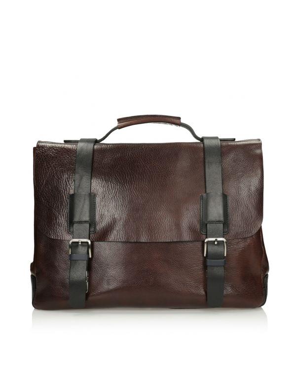Brązowa skórzana torba męska 3i - 11514 - 1