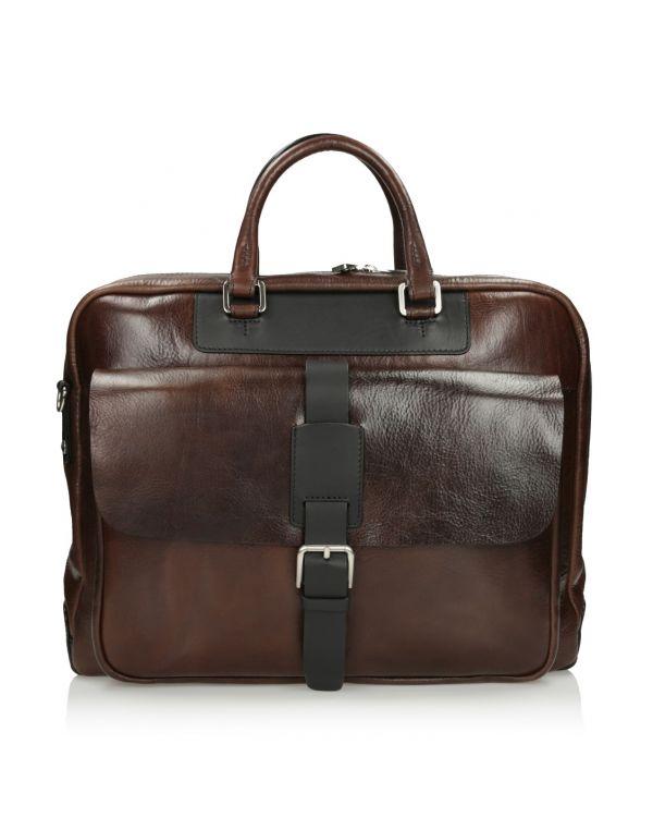 Brązowa skórzana torba męska 3i - 11516 - 1