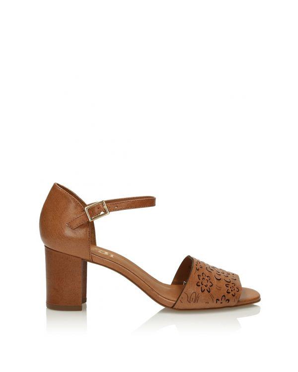Brązowe skórzane sandały damskie 3i - 11388 - 1