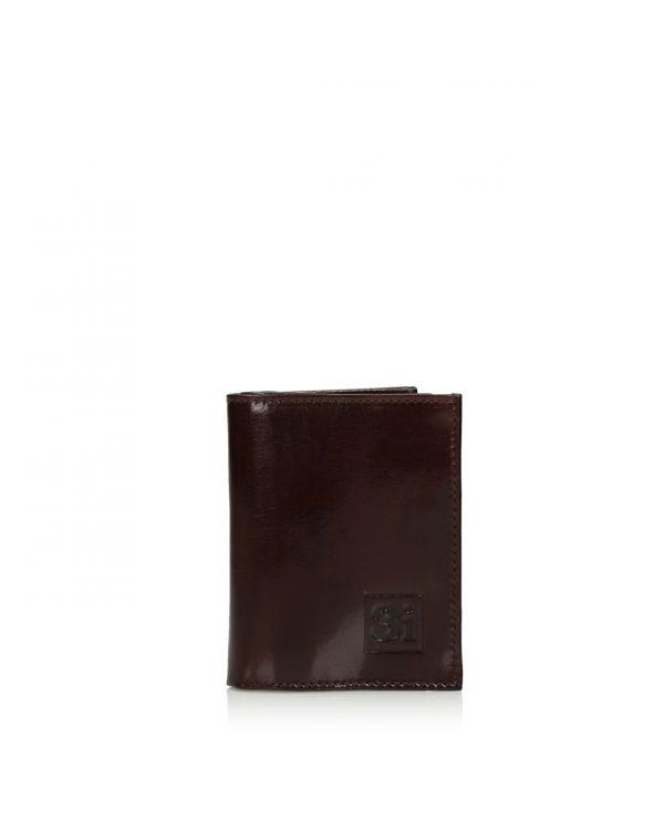 Brązowy skórzany składany organizer na karty/wizytówki 3i - 11254 - 1