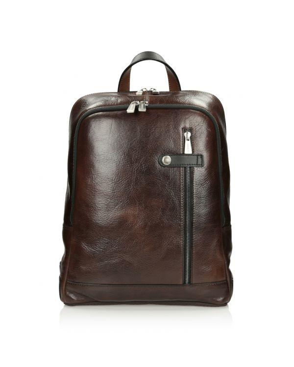 Brązowy skórzany plecak męski 3i - 11520 - 1