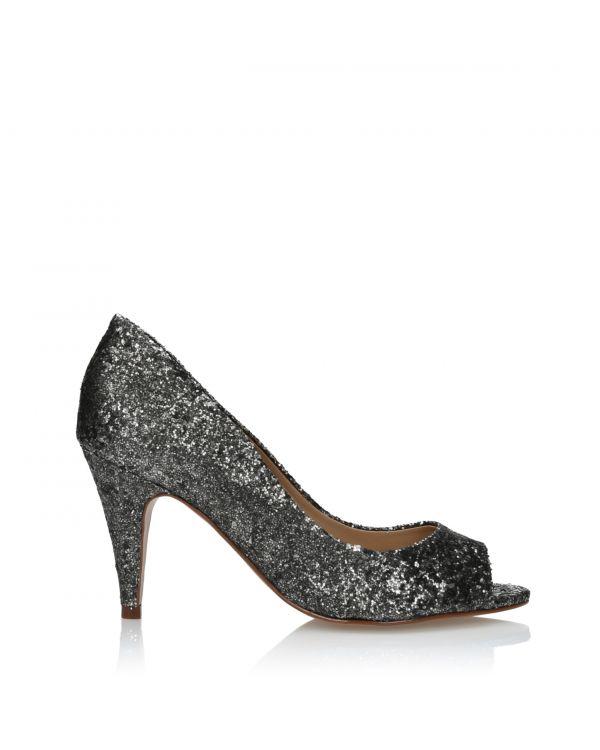 3i Glittery silver and black high heels - 164140 Onix - 1