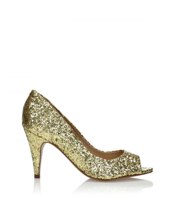 3i Glittery golden peep toe high heels - 164140 Ouro - 1