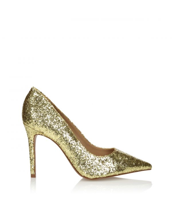 Złote brokatowe czółenka 3i - 164410 Ouro - 1