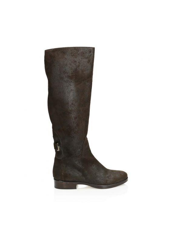 Ciemno-brązowe włoskie skórzane kozaki 3i - 11373 - 1