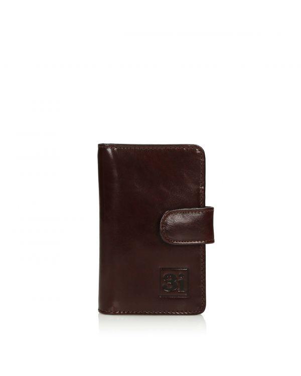 Ciemnobrązowy skórzany wizytownik/etui na karty 3i - 11249 - 1