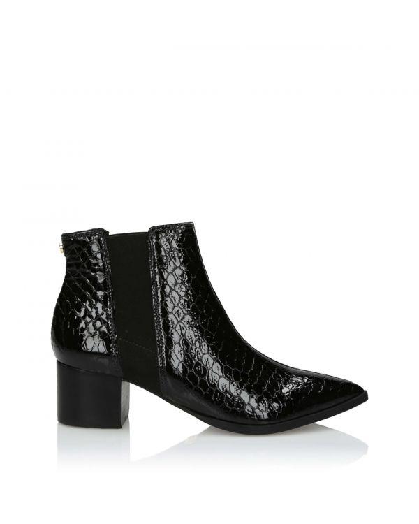 Czarne botki damskie ze skóry tłoczonej 3i - 11000 Preto - 1
