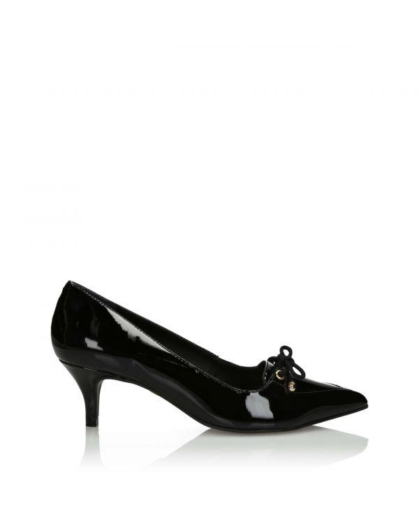 Czarne wiązane klasyczne czółenka damskie 3i - 10837 Preto - 1