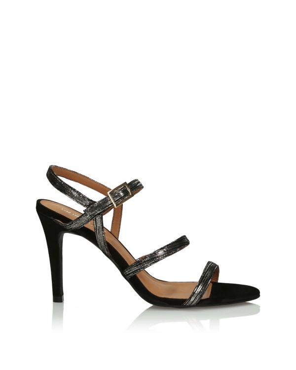 Złoto-czarne sandały damskie 3i - 36823 Graffiato Luna - 1