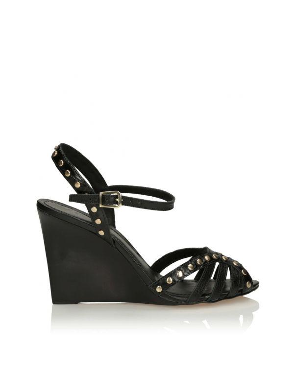 Czarne sandały damskie na koturnie - 11562 - 1