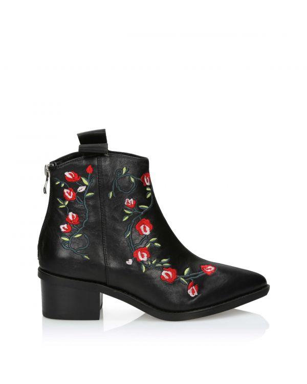 Czarne skórzane botki damskie 3i ze wzorem kwiatowym - 10664 Black - 1