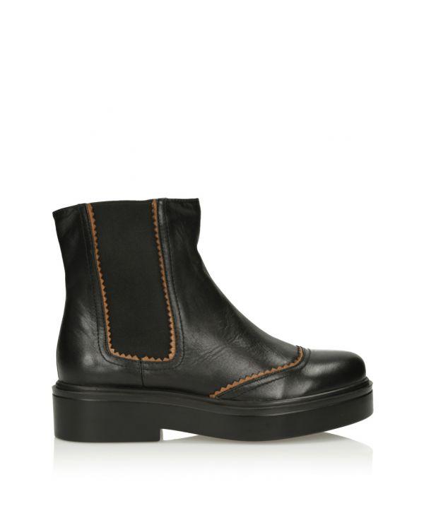 Czarne skórzane botki damskie - 11439 - 1