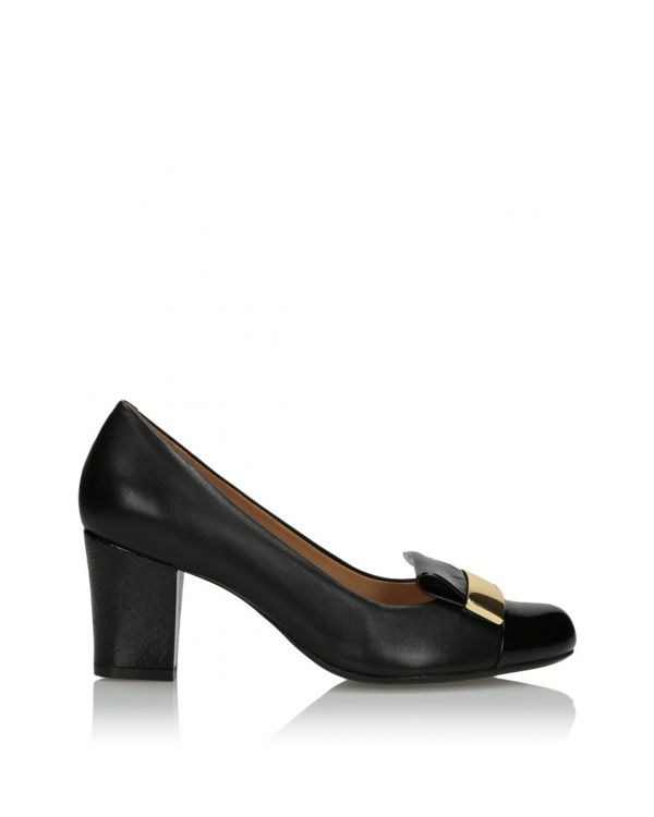 Czarne skórzane czółenka damskie 3i - 11029 - 1