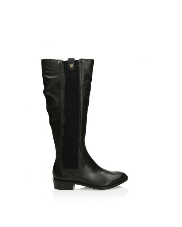 Czarne skórzane kozaki damskie 3i - 10995 - 1
