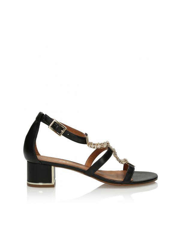 Czarne skórzane sandały damskie 3i - 11396 - 1