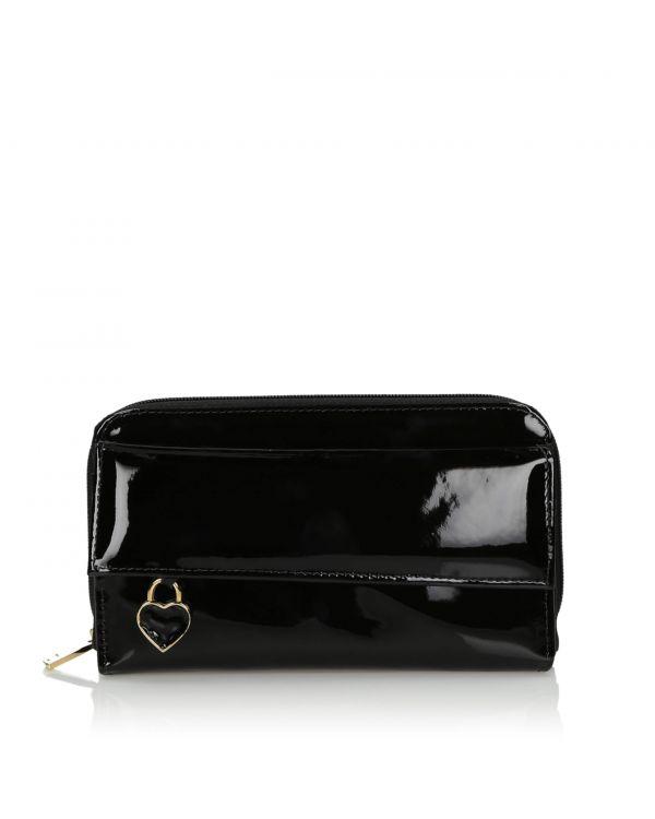 Czarny skórzany portfel damski 3i - 10798 - 1