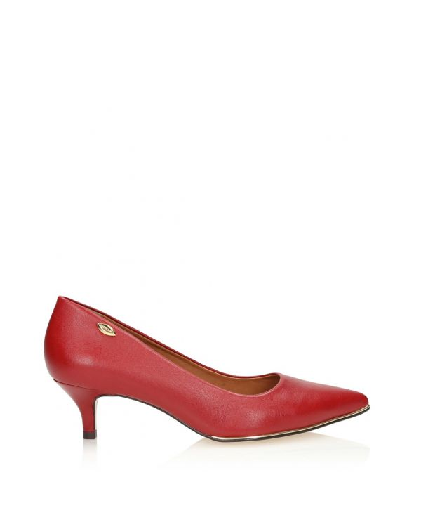 3i red leather low heeled pumps - 11316 - 1