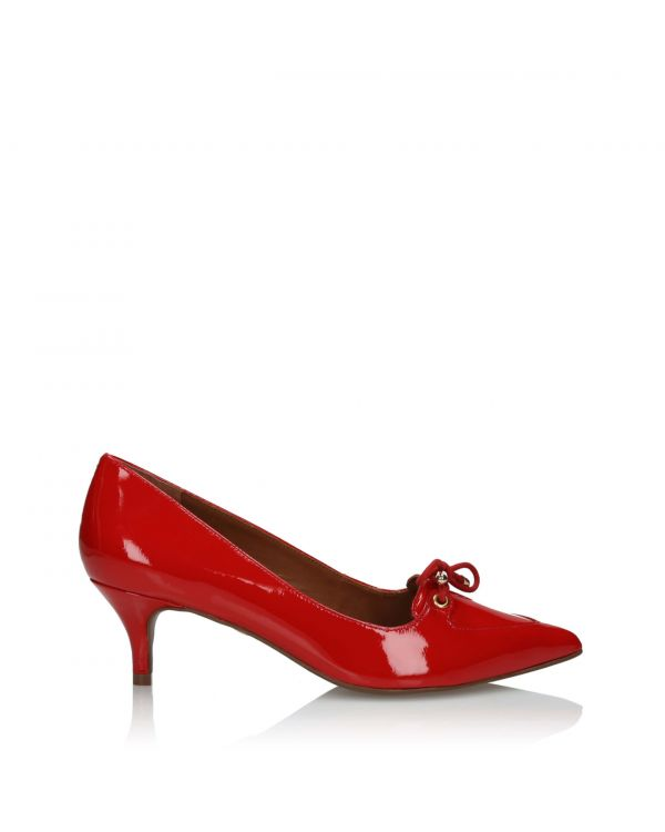 Czerwone wiązane klasyczne czółenka damskie 3i - 10838 Red - 1