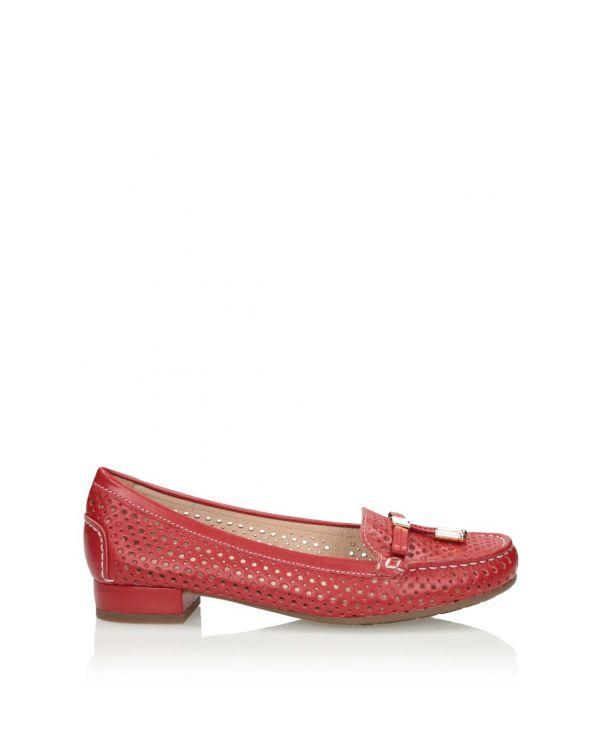 Czerwone ażurowe mokasyny damskie 3i - 11585 - 1