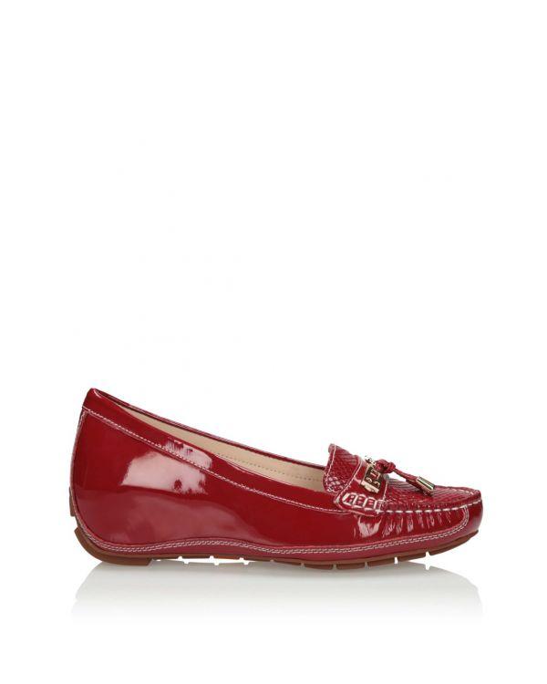 Czerwone mokasyny damskie na koturnie 3i - 11595 - 1