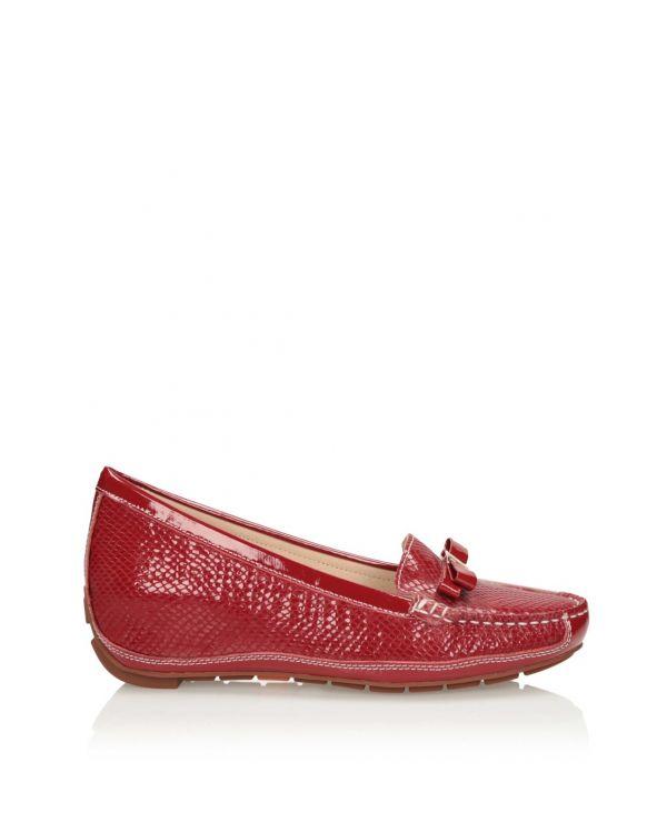 Czerwone mokasyny damskie na koturnie 3i - 11596 - 1