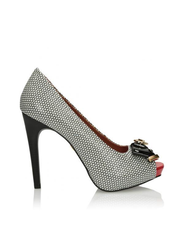 3i White and black peep toe  pumps - 11579 - 1