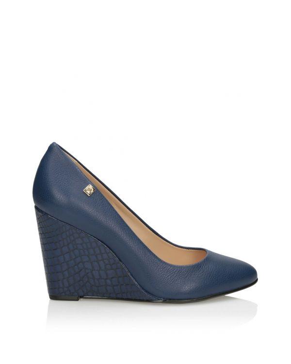 Niebieskie czółenka damskie na platformie - 8262 - 1